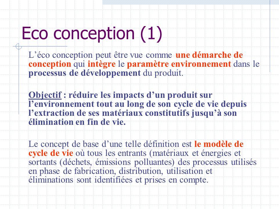 Eco conception (1) Léco conception peut être vue comme une démarche de conception qui intègre le paramètre environnement dans le processus de développ