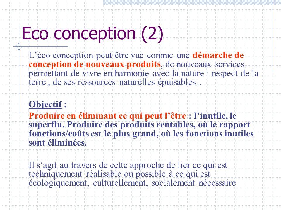 Eco conception (2) Léco conception peut être vue comme une démarche de conception de nouveaux produits, de nouveaux services permettant de vivre en ha