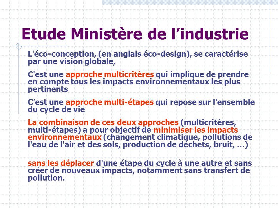 Etude Ministère de lindustrie L'éco-conception, (en anglais éco-design), se caractérise par une vision globale, C'est une approche multicritères qui i