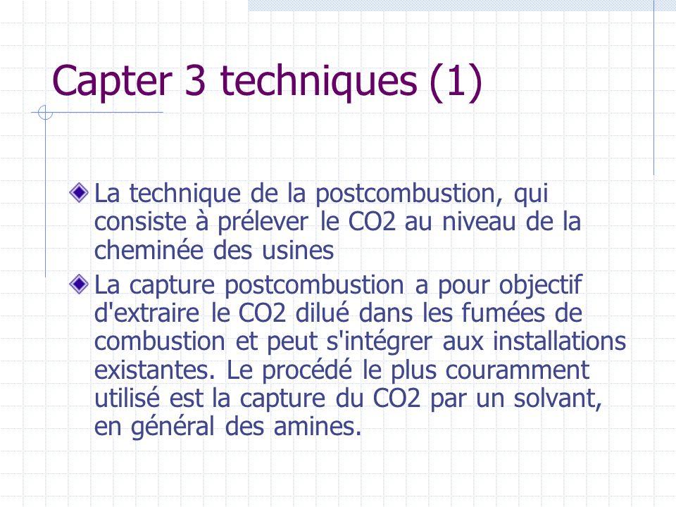 Capter 3 techniques (1) La technique de la postcombustion, qui consiste à prélever le CO2 au niveau de la cheminée des usines La capture postcombustio