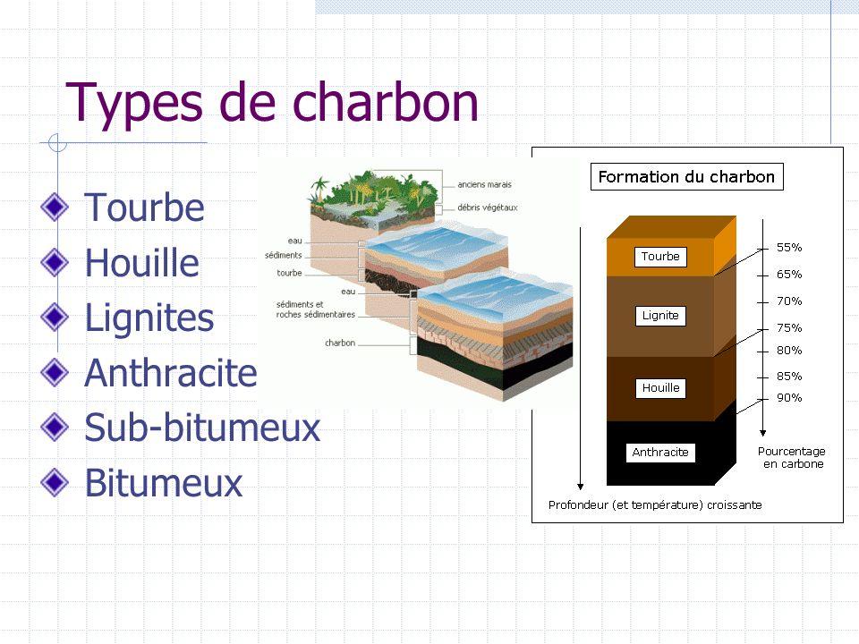 Types de charbon Tourbe Houille Lignites Anthracite Sub-bitumeux Bitumeux