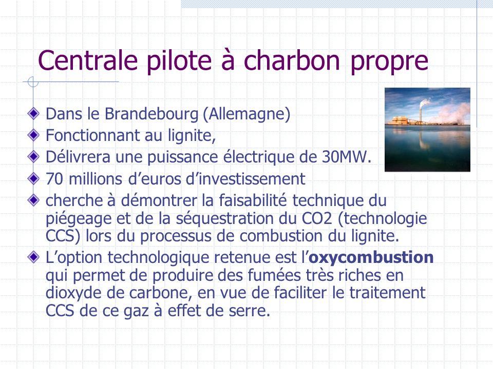 Centrale pilote à charbon propre Dans le Brandebourg (Allemagne) Fonctionnant au lignite, Délivrera une puissance électrique de 30MW. 70 millions deur