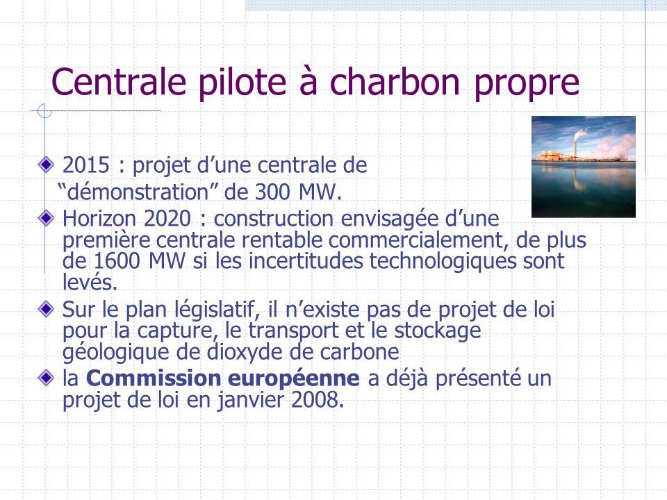 Centrale pilote à charbon propre 2015 : projet dune centrale de démonstration de 300 MW. Horizon 2020 : construction envisagée dune première centrale