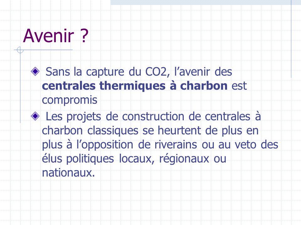 Avenir ? Sans la capture du CO2, lavenir des centrales thermiques à charbon est compromis Les projets de construction de centrales à charbon classique