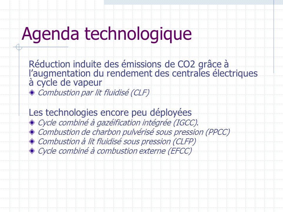 Agenda technologique Réduction induite des émissions de CO2 grâce à laugmentation du rendement des centrales électriques à cycle de vapeur Combustion