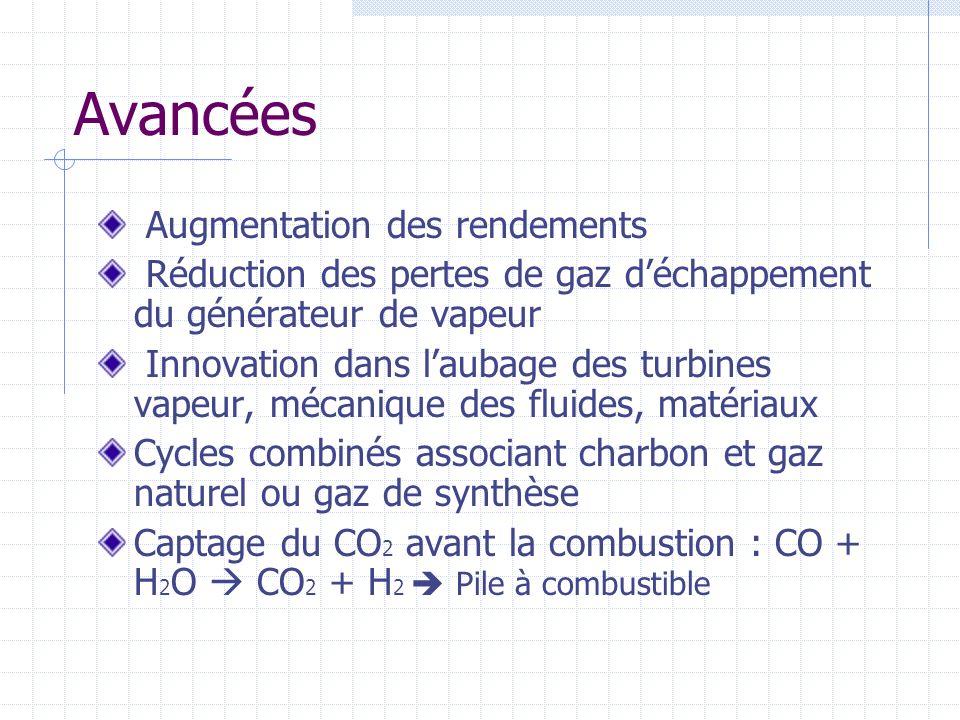 Avancées Augmentation des rendements Réduction des pertes de gaz déchappement du générateur de vapeur Innovation dans laubage des turbines vapeur, méc