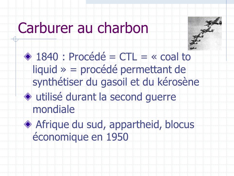 Carburer au charbon 1840 : Procédé = CTL = « coal to liquid » = procédé permettant de synthétiser du gasoil et du kérosène utilisé durant la second gu