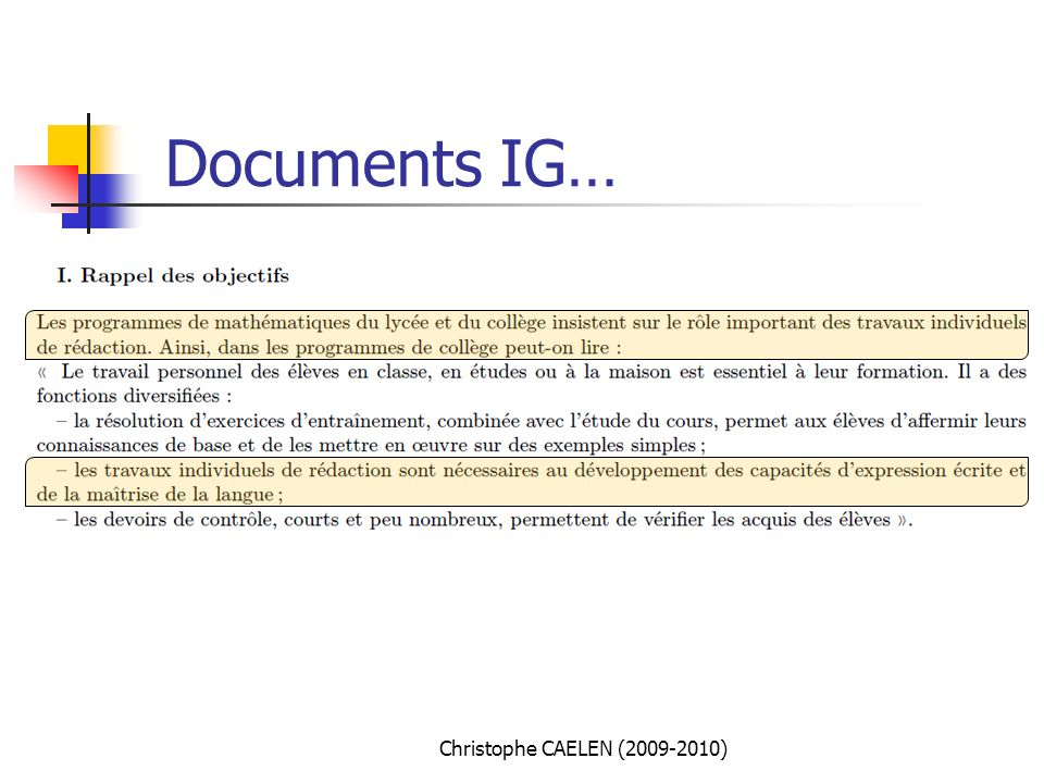 Documents IG… Christophe CAELEN (2009-2010)