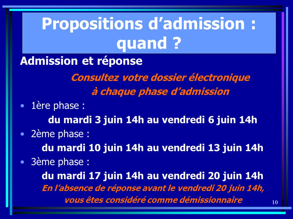 10 Propositions dadmission : quand .