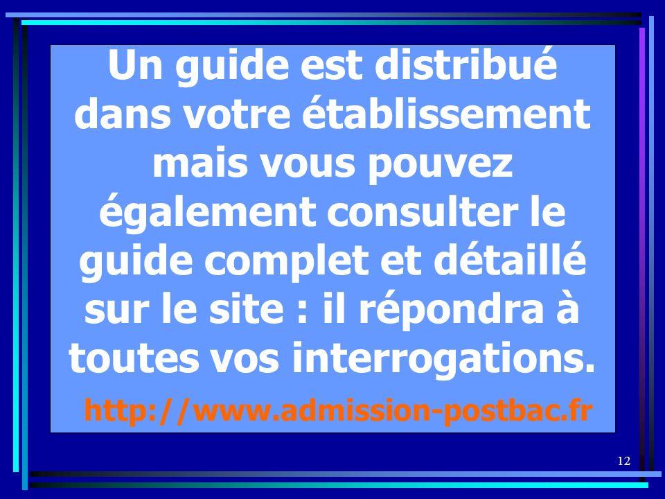 12 Un guide est distribué dans votre établissement mais vous pouvez également consulter le guide complet et détaillé sur le site : il répondra à toutes vos interrogations.