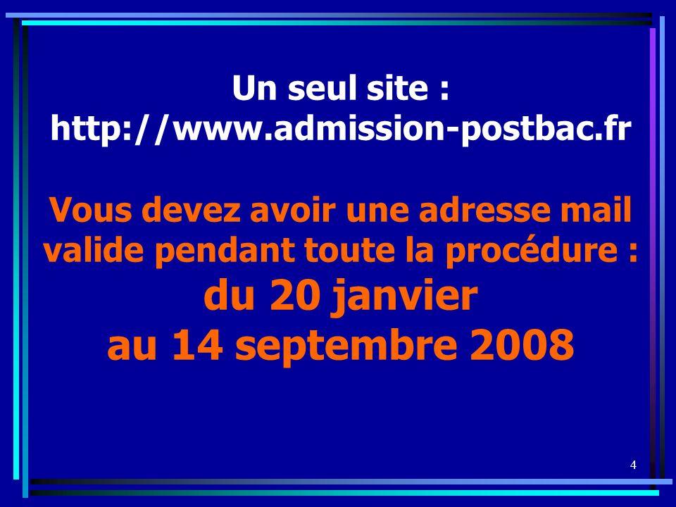 4 Un seul site : http://www.admission-postbac.fr Vous devez avoir une adresse mail valide pendant toute la procédure : du 20 janvier au 14 septembre 2008