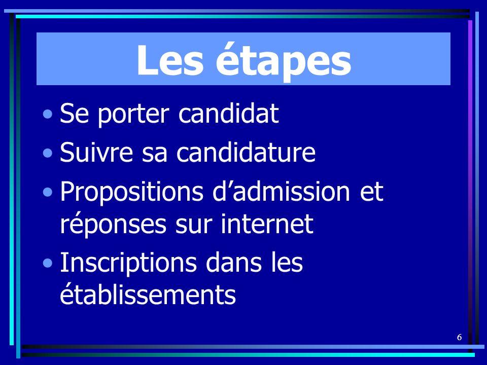 6 Les étapes Se porter candidat Suivre sa candidature Propositions dadmission et réponses sur internet Inscriptions dans les établissements