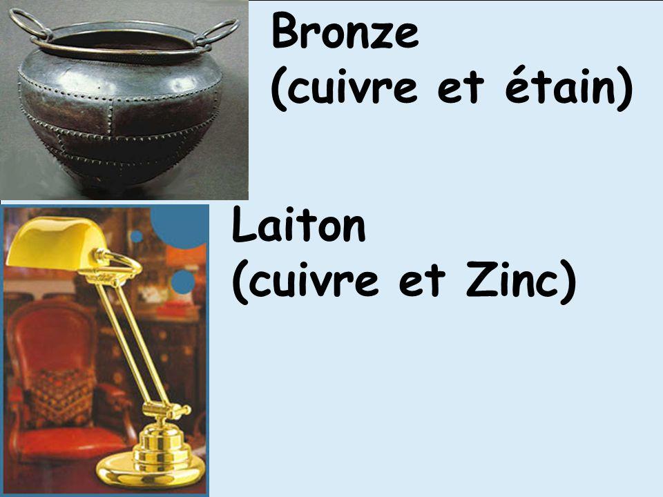 Bronze (cuivre et étain) Laiton (cuivre et Zinc)