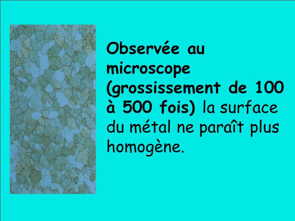 Observée au microscope (grossissement de 100 à 500 fois) la surface du métal ne paraît plus homogène.