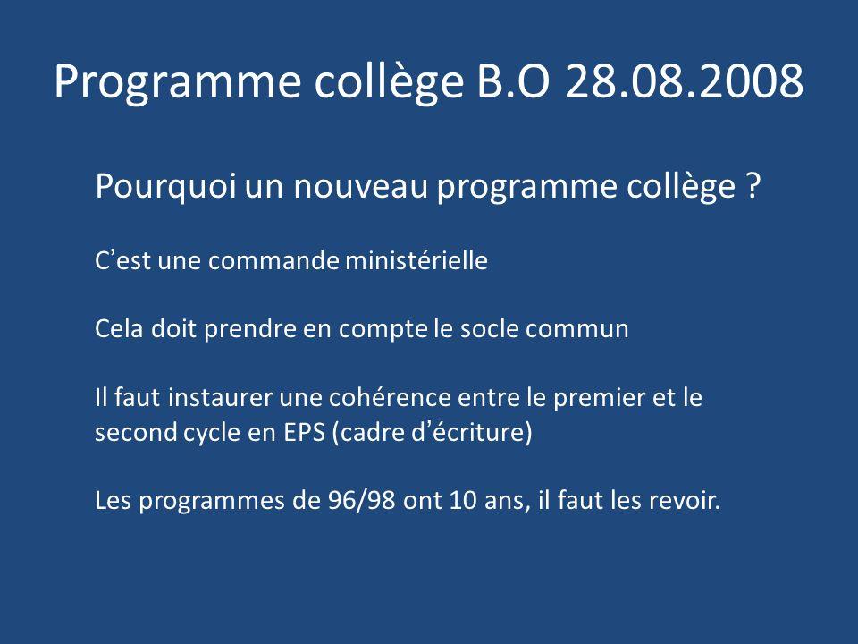 Programme collège B.O 28.08.2008 Pourquoi un nouveau programme collège ? Cest une commande ministérielle Cela doit prendre en compte le socle commun I