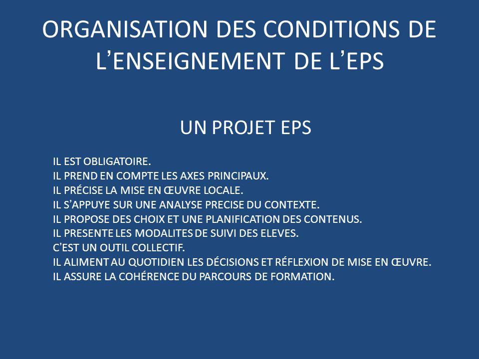 ORGANISATION DES CONDITIONS DE LENSEIGNEMENT DE LEPS UN PROJET EPS IL EST OBLIGATOIRE.