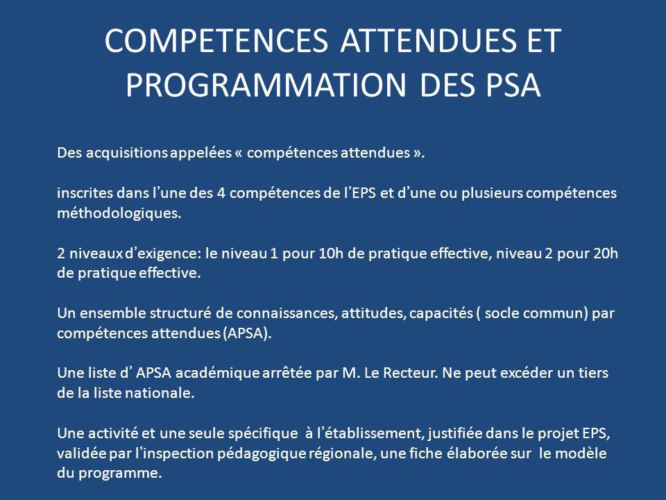 COMPETENCES ATTENDUES ET PROGRAMMATION DES PSA Des acquisitions appelées « compétences attendues ». inscrites dans lune des 4 compétences de lEPS et d