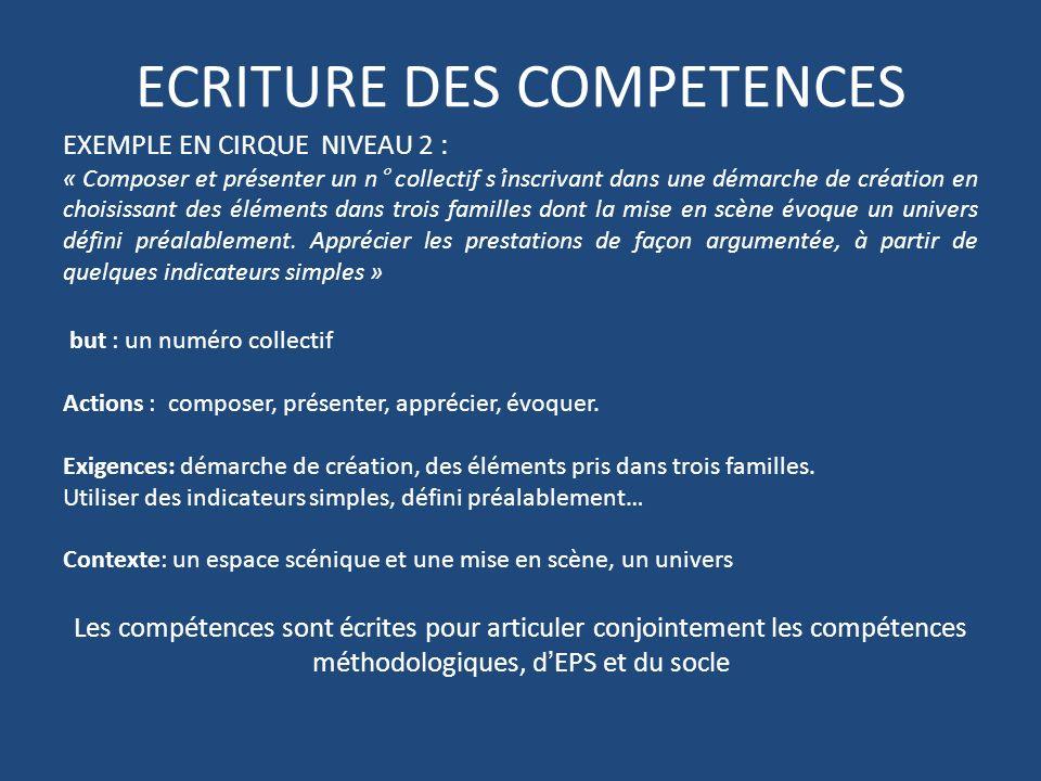 ECRITURE DES COMPETENCES EXEMPLE EN CIRQUE NIVEAU 2 : « Composer et présenter un n° collectif sinscrivant dans une démarche de création en choisissant