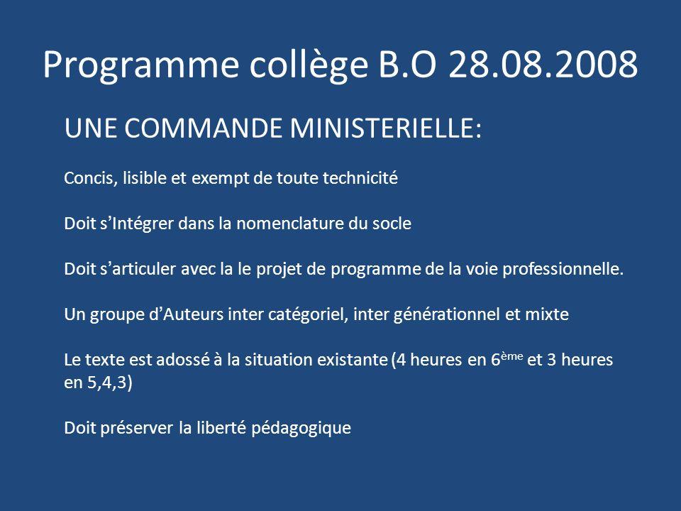 Programme collège B.O 28.08.2008 UNE COMMANDE MINISTERIELLE: Concis, lisible et exempt de toute technicité Doit sIntégrer dans la nomenclature du socl