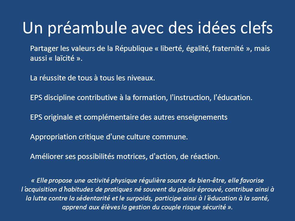 Un préambule avec des idées clefs Partager les valeurs de la République « liberté, égalité, fraternité », mais aussi « laïcité ».