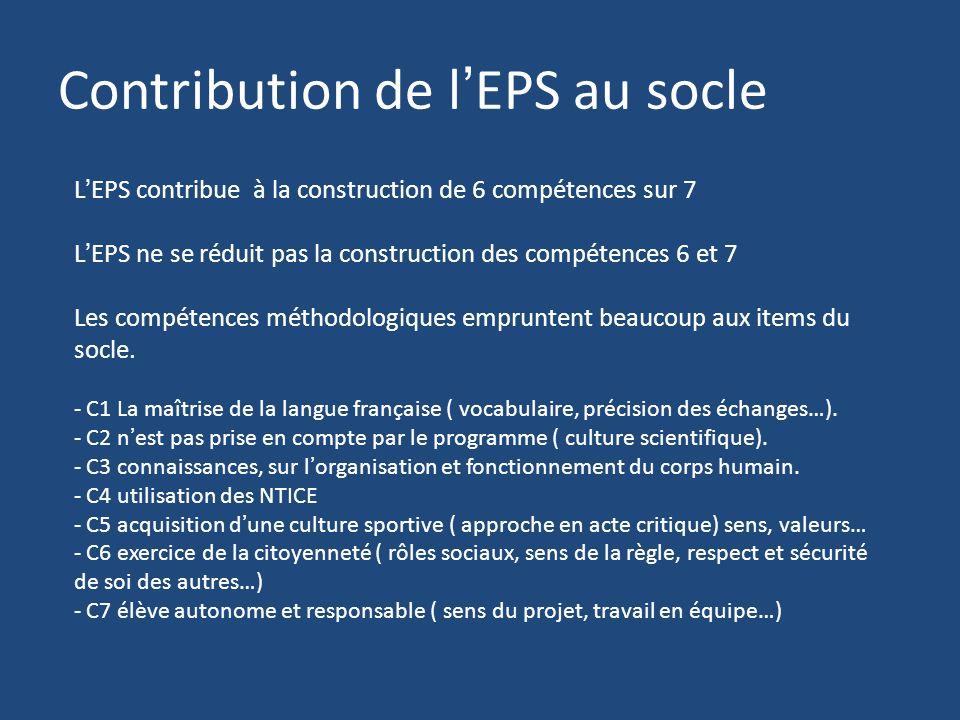 Contribution de lEPS au socle LEPS contribue à la construction de 6 compétences sur 7 LEPS ne se réduit pas la construction des compétences 6 et 7 Les compétences méthodologiques empruntent beaucoup aux items du socle.