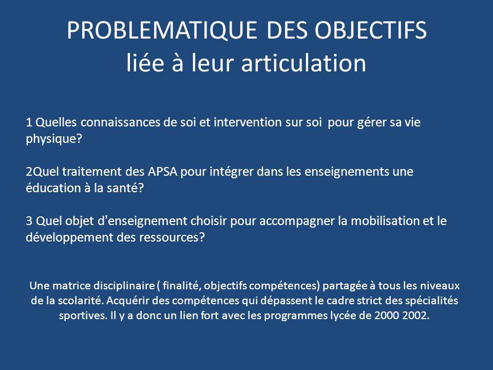 PROBLEMATIQUE DES OBJECTIFS liée à leur articulation 1 Quelles connaissances de soi et intervention sur soi pour gérer sa vie physique.