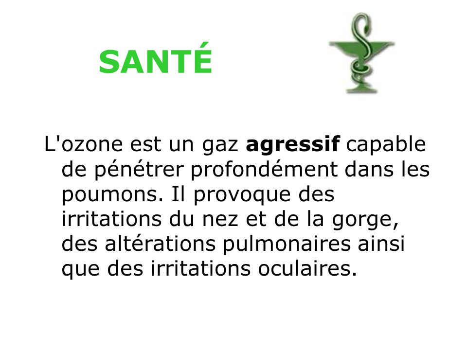 Ozone Il résulte de la transformation chimique dans l'atmosphère de certains polluants dits
