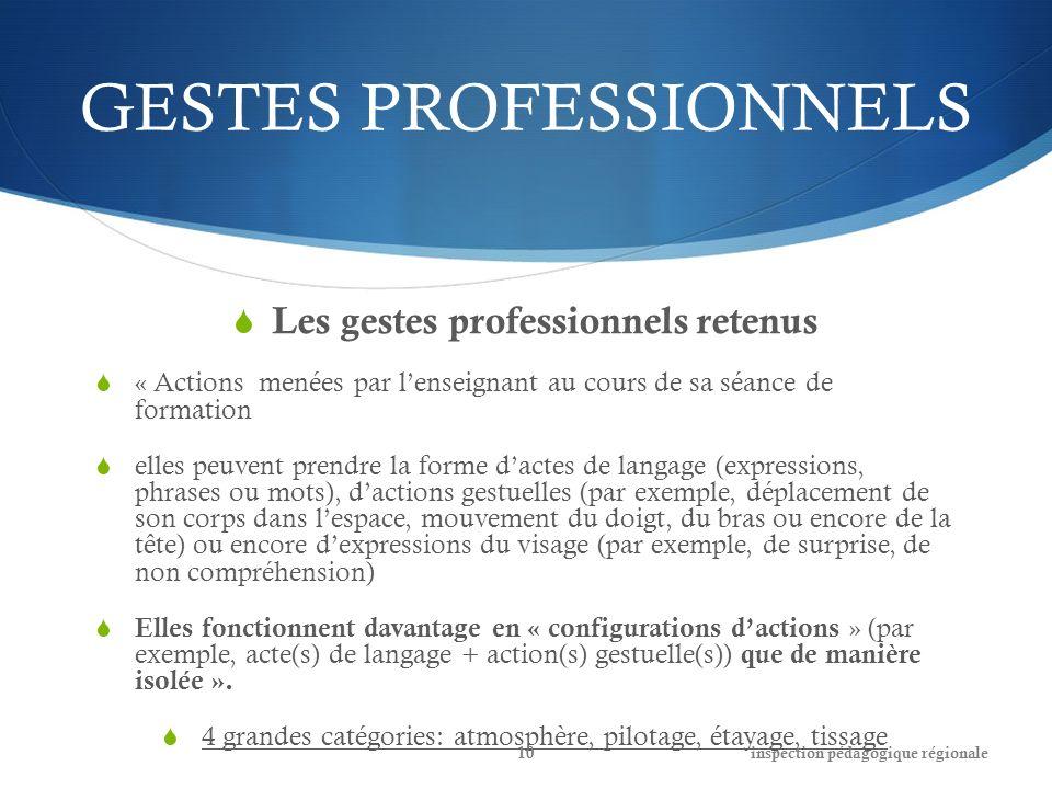 GESTES PROFESSIONNELS Les gestes professionnels retenus « Actions menées par lenseignant au cours de sa séance de formation elles peuvent prendre la f