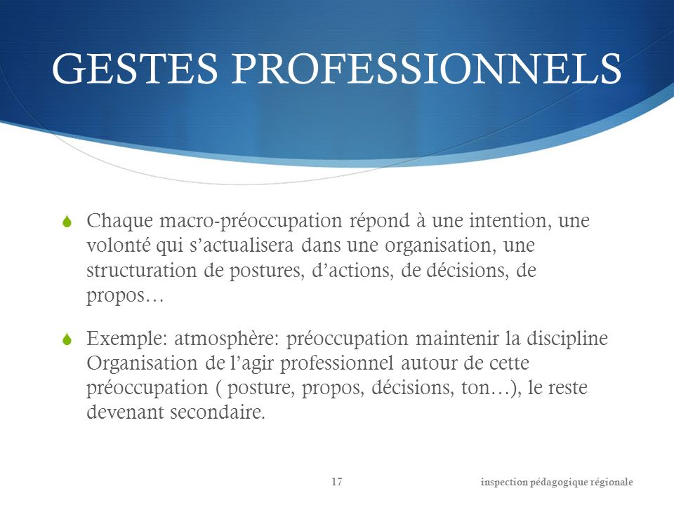 GESTES PROFESSIONNELS Chaque macro-préoccupation répond à une intention, une volonté qui sactualisera dans une organisation, une structuration de post