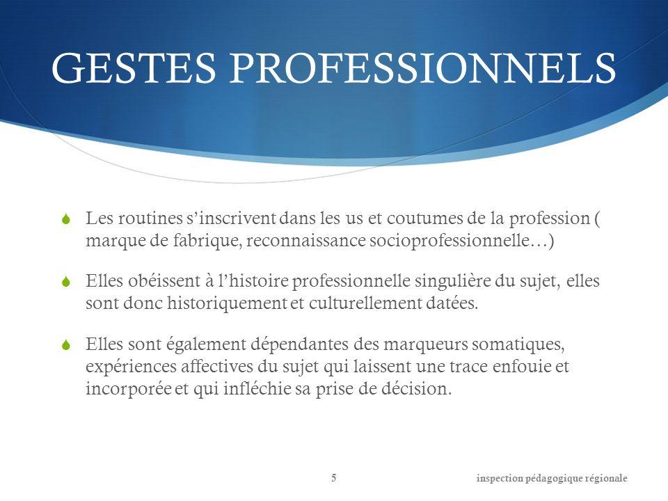 GESTES PROFESSIONNELS Les routines sinscrivent dans les us et coutumes de la profession ( marque de fabrique, reconnaissance socioprofessionnelle…) El