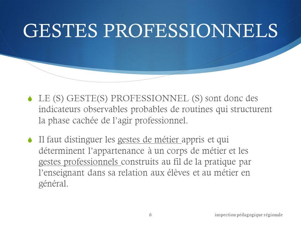 GESTES PROFESSIONNELS LE (S) GESTE(S) PROFESSIONNEL (S) sont donc des indicateurs observables probables de routines qui structurent la phase cachée de