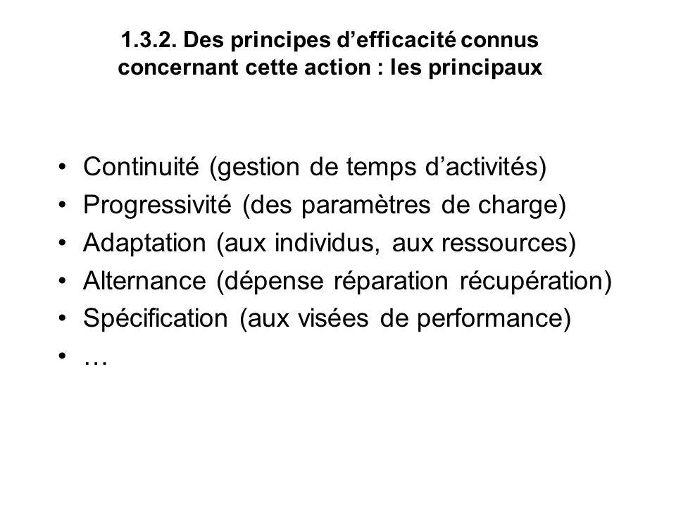 1.3.2. Des principes defficacité connus concernant cette action : les principaux Continuité (gestion de temps dactivités) Progressivité (des paramètre