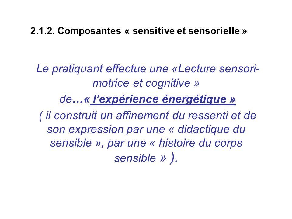 2.1.2. Composantes « sensitive et sensorielle » Le pratiquant effectue une «Lecture sensori- motrice et cognitive » de…« lexpérience énergétique » ( i