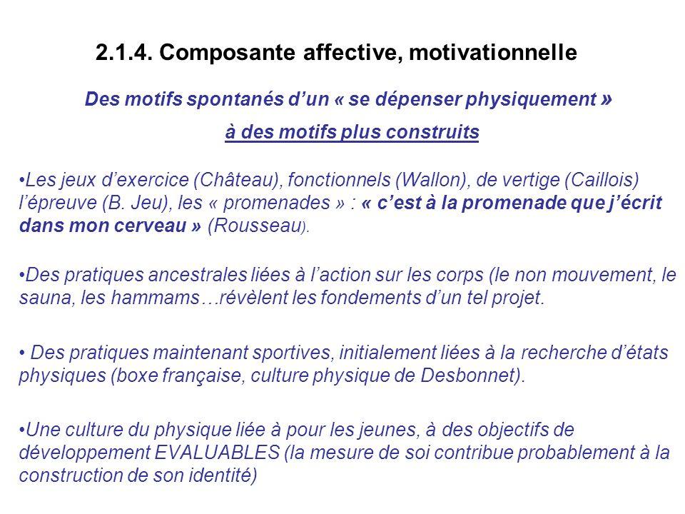 2.1.4. Composante affective, motivationnelle Des motifs spontanés dun « se dépenser physiquement » à des motifs plus construits Les jeux dexercice (Ch