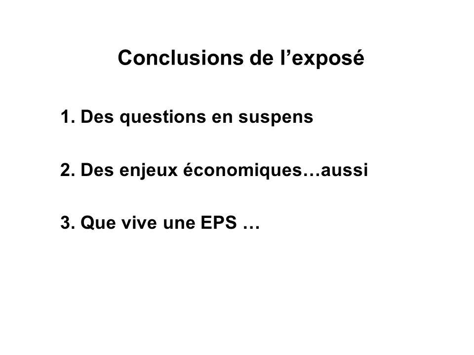 Conclusions de lexposé 1. Des questions en suspens 2. Des enjeux économiques…aussi 3. Que vive une EPS …