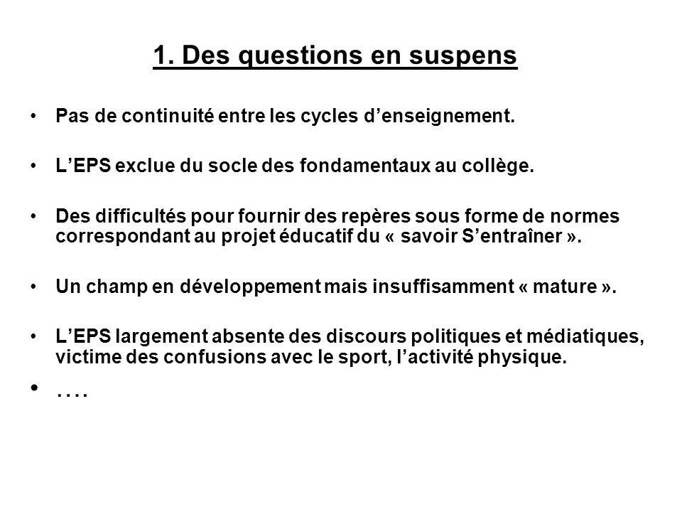 1. Des questions en suspens Pas de continuité entre les cycles denseignement. LEPS exclue du socle des fondamentaux au collège. Des difficultés pour f