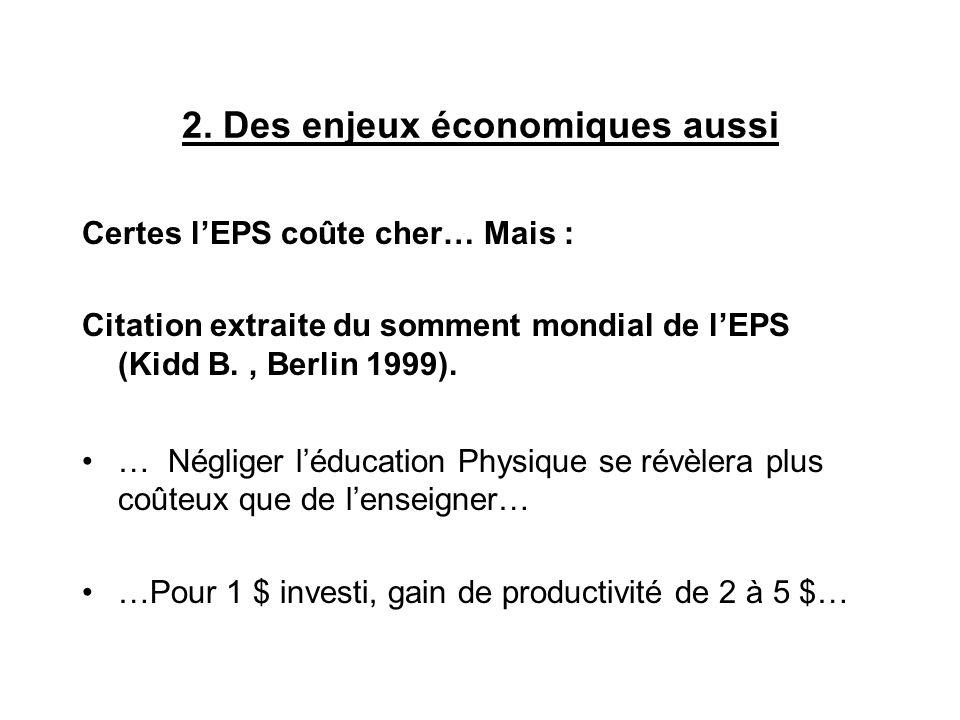 2. Des enjeux économiques aussi Certes lEPS coûte cher… Mais : Citation extraite du somment mondial de lEPS (Kidd B., Berlin 1999). … Négliger léducat