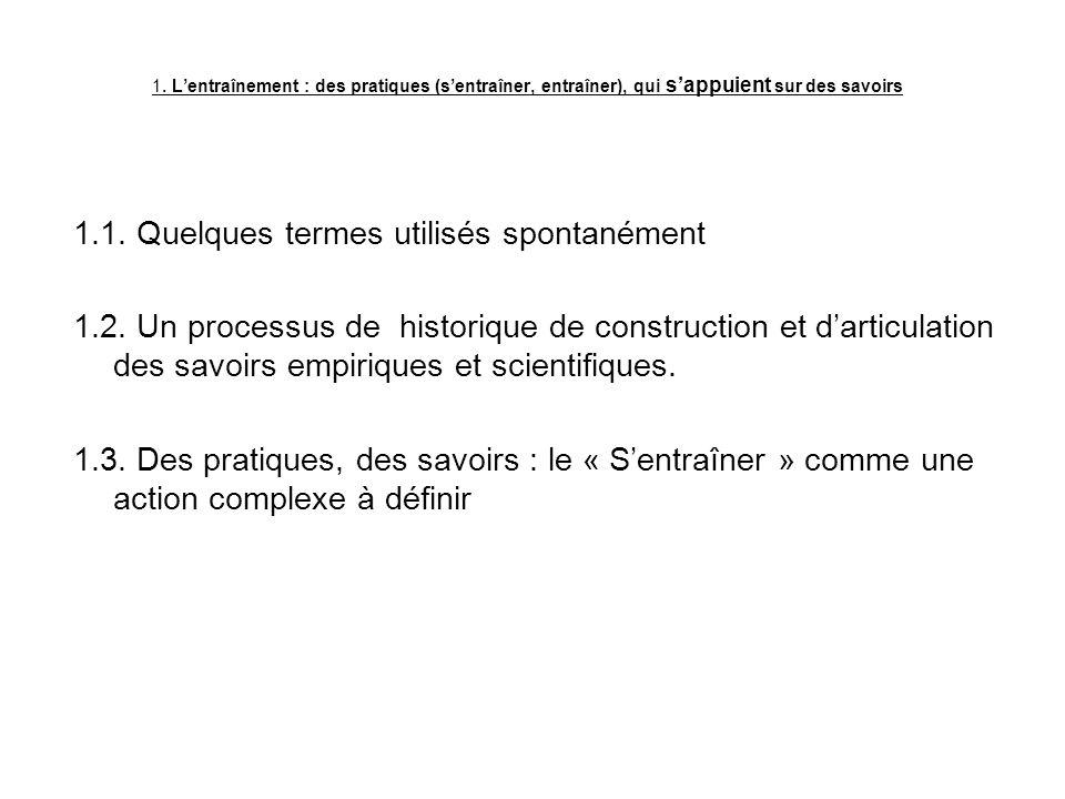 1. Lentraînement : des pratiques (sentraîner, entraîner), qui sappuient sur des savoirs 1.1. Quelques termes utilisés spontanément 1.2. Un processus d