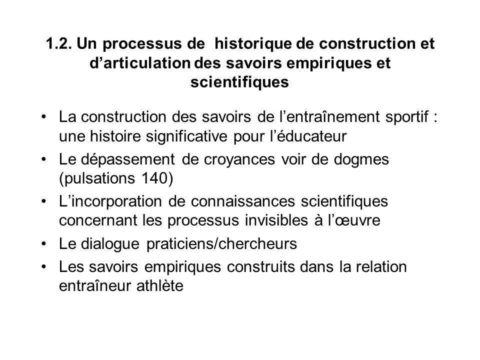 1.2. Un processus de historique de construction et darticulation des savoirs empiriques et scientifiques La construction des savoirs de lentraînement