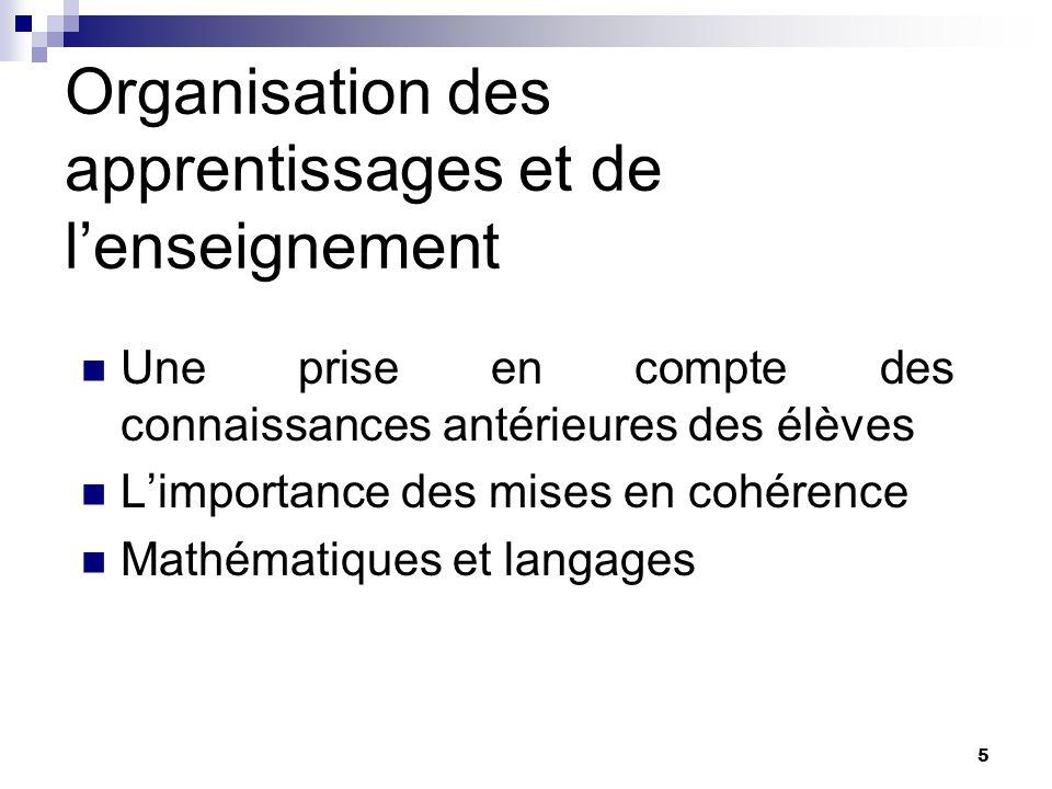 5 Organisation des apprentissages et de lenseignement Une prise en compte des connaissances antérieures des élèves Limportance des mises en cohérence