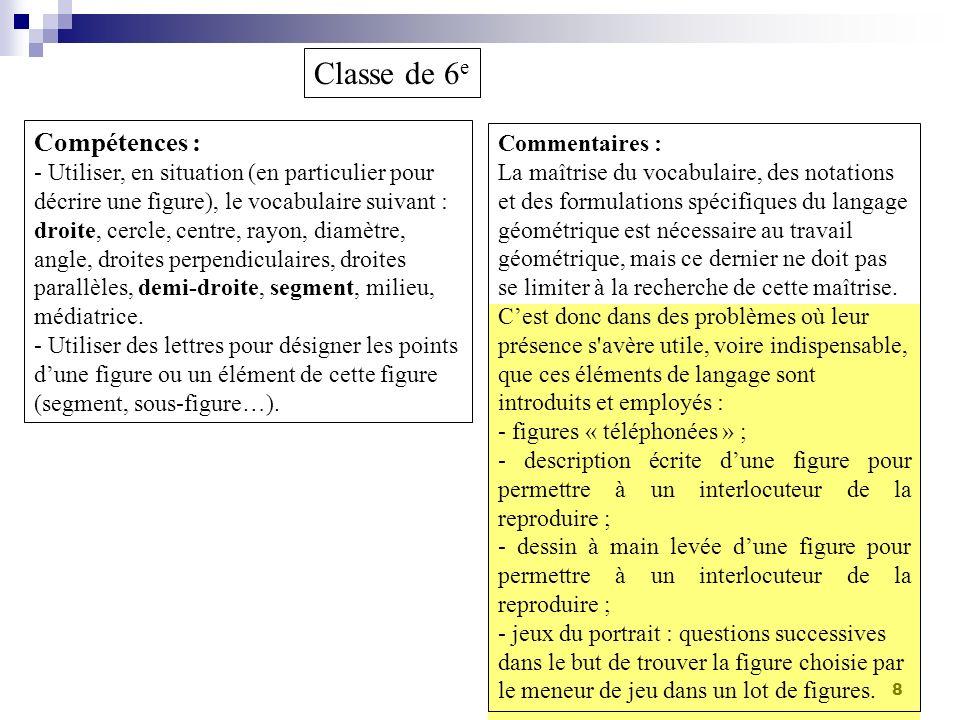 8 Classe de 6 e Compétences : - Utiliser, en situation (en particulier pour décrire une figure), le vocabulaire suivant : droite, cercle, centre, rayo