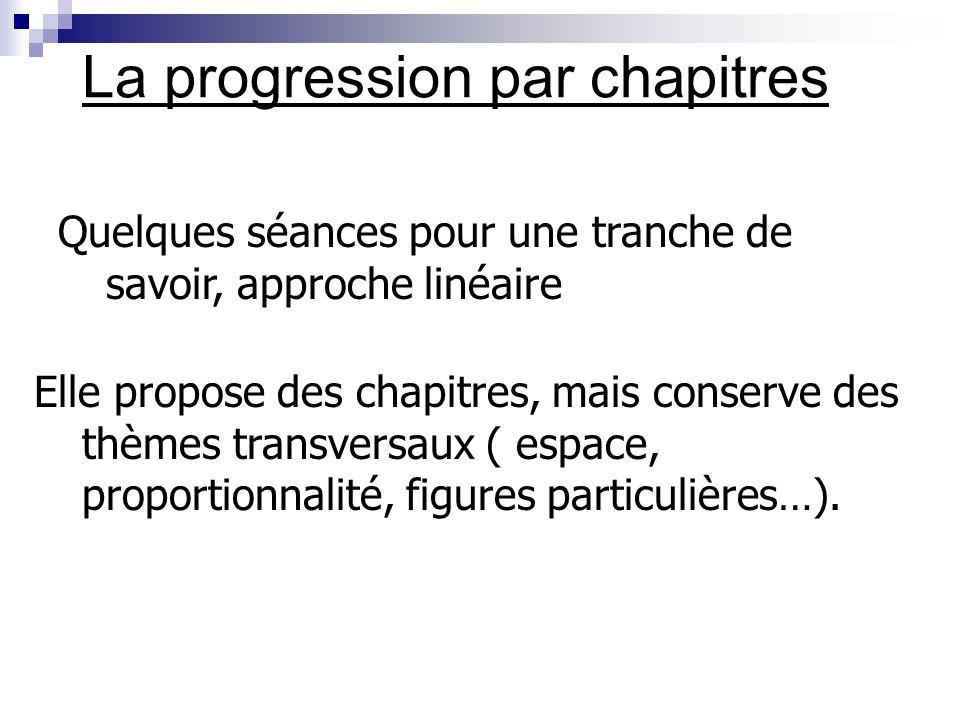 Différents types de progressions Par micro chapitres (ou spiralée) Par objectifs Par chapitres