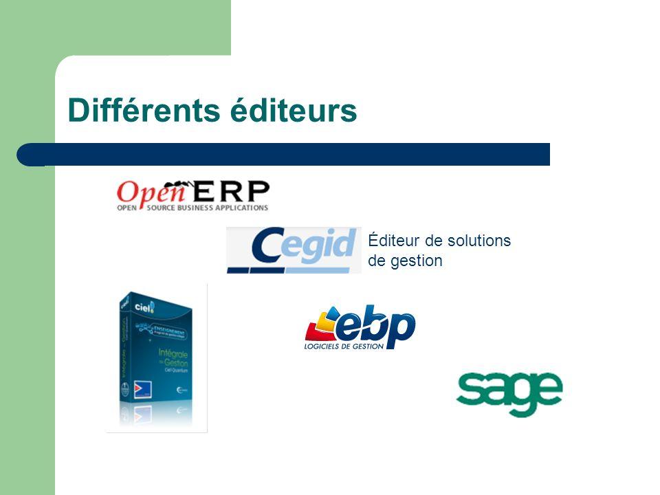 Différents éditeurs Éditeur de solutions de gestion