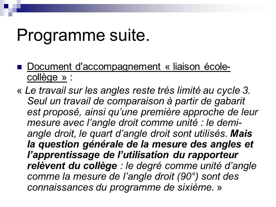 Programme suite.