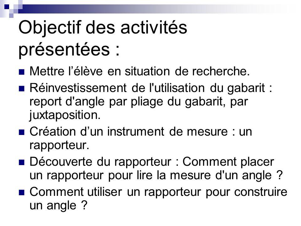 Objectif des activités présentées : Mettre lélève en situation de recherche.