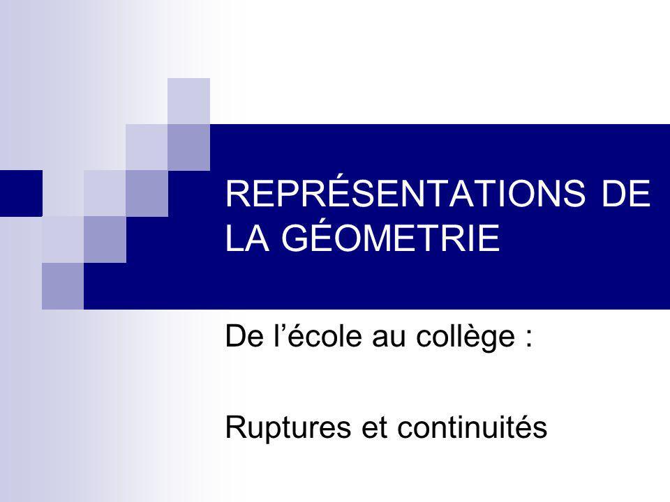 REPRÉSENTATIONS DE LA GÉOMETRIE De lécole au collège : Ruptures et continuités