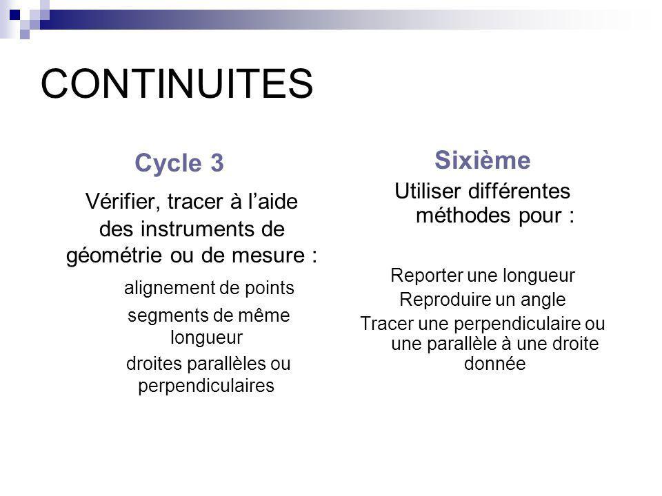 CONTINUITES Cycle 3 Vérifier, tracer à laide des instruments de géométrie ou de mesure : alignement de points segments de même longueur droites parall