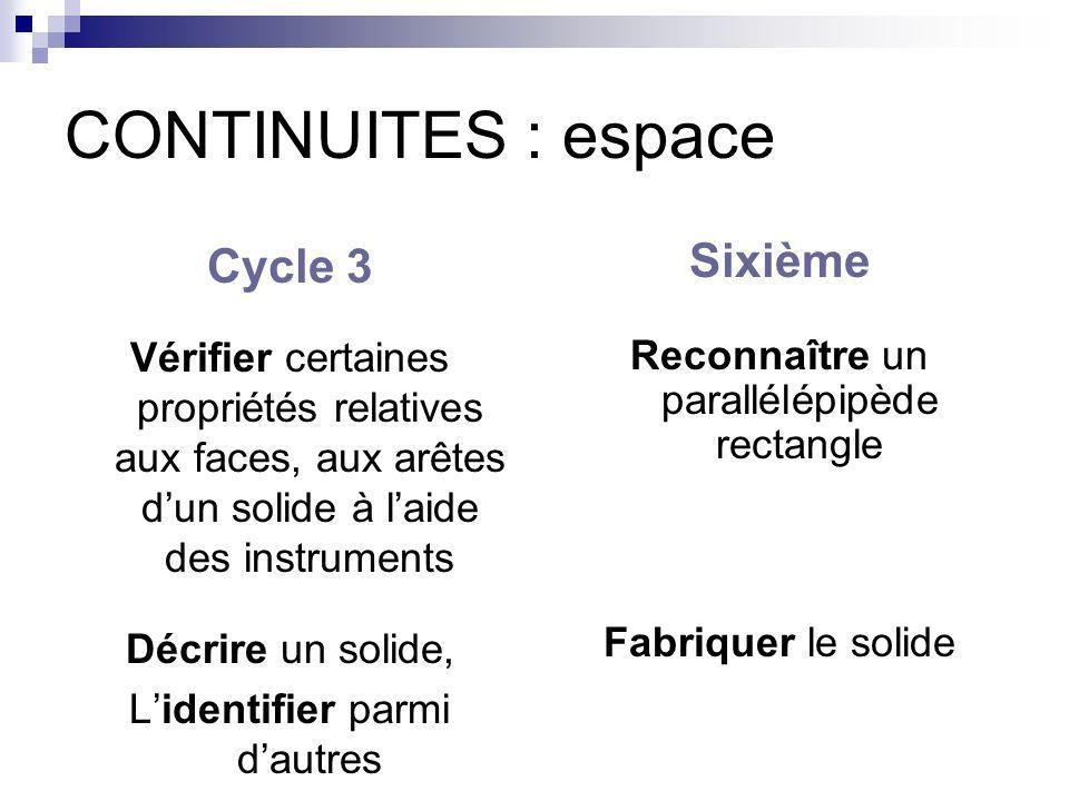 CONTINUITES : espace Cycle 3 Vérifier certaines propriétés relatives aux faces, aux arêtes dun solide à laide des instruments Décrire un solide, Liden
