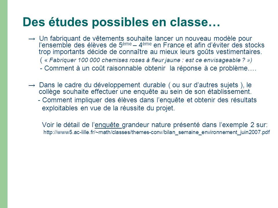 Des études possibles en classe… Un fabriquant de vêtements souhaite lancer un nouveau modèle pour lensemble des élèves de 5 ème – 4 ème en France et a