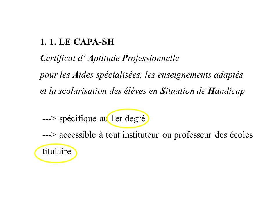 1. 1. LE CAPA-SH Certificat d Aptitude Professionnelle pour les Aides spécialisées, les enseignements adaptés et la scolarisation des élèves en Situat